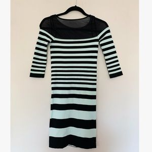 BEBE Mint Green Striped Fitted Dress